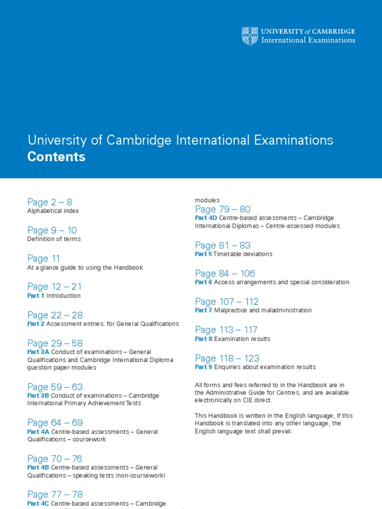 cie 2010 handbook for centres igcse o levels a levels test
