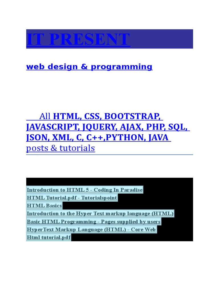 html, css, bootstrap, javascript, jquery, ajax, php, sql, json, xml