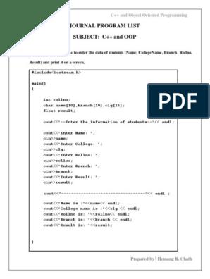 Journal Program(C++)   Parameter (Computer Programming)   C++
