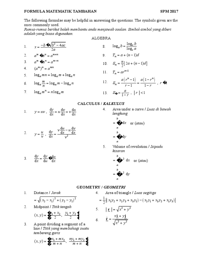 Formula Add Math Spm
