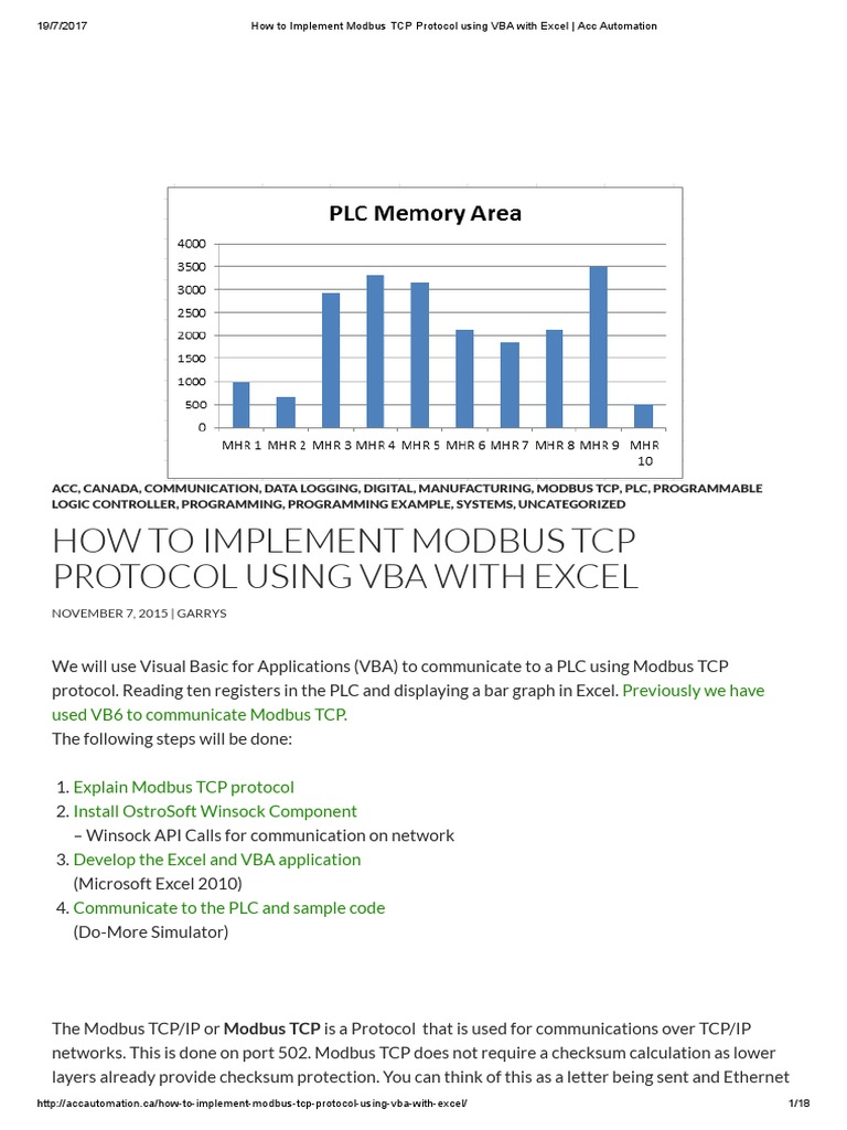 How To Implement Modbus Tcp Protocol Using Vba With Excel Acc