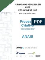 ANAIS Jornada de Pesquisa Em Arte PPG IA UNESP 2015