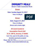 August 2017 Dinners Email