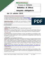 Bollettino Difesa Integrata Obbligatoria Provincia Ferrara 21ott15