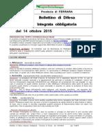 Bollettino Difesa Integrata Obbligatoria Provincia Ferrara 14ott15