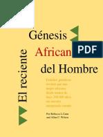 El Reciente Genesis Africano Del Hombre