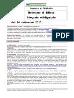 Bollettino Difesa Integrata Obbligatoria Provincia Ferrara 24set15