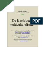 De La Critique Du Multiculturalisme
