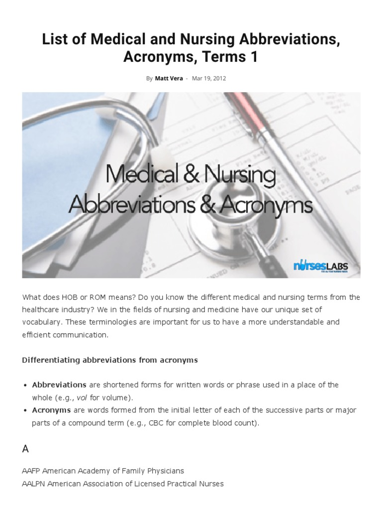 Medical abbreviations ir - List Of Medical And Nursing Abbreviations Acronyms Terms 1 Nurseslabs Heart Physical Therapy