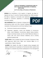 Motion to Investigate Bank of Uganda