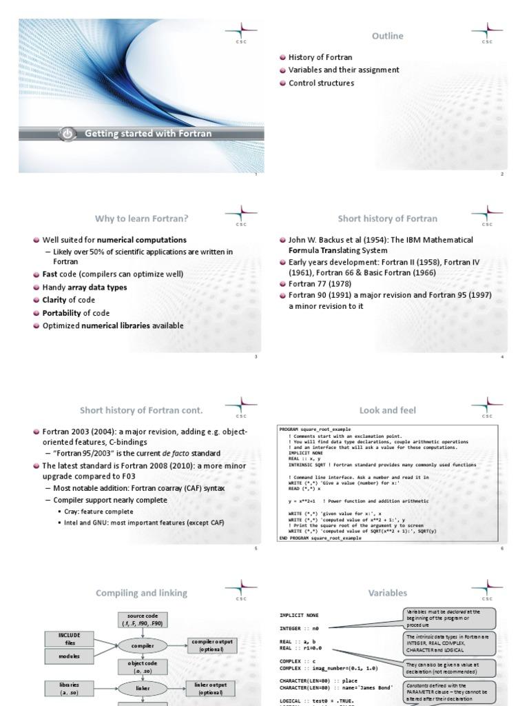 Fortran 95   Subroutine   Parameter (Computer Programming)