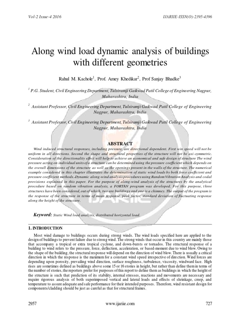 Along Wind Load Dynamic Analysis of Buildings With Different