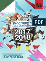 Programme d'activité de la MJC de Chenôve 2017-2018
