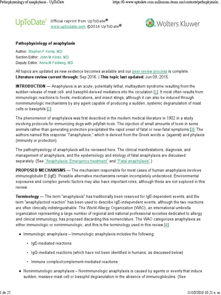 1  Pathophysiology of Anaphylaxis | Immunoglobulin G | Nitric Oxide
