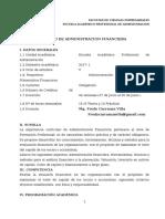 Silabo de Administracion Financiera  Mg. Fredy Carranza - 2017 -I