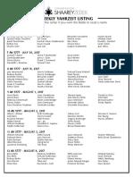 July 29, 2017 Yahrzeit List