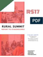 Rural Summit 2017 eReport to Stakeholders