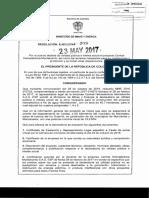 Resolucion Ejecutiva 209 Del 23 de Mayo de 2017 Colombia