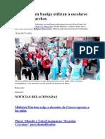 Profesores en Huelga Utilizan a Escolares Para Sus Marchas