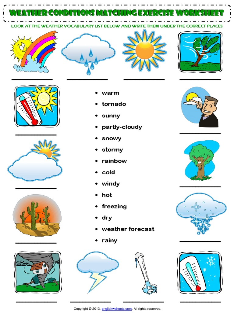 weather conditions vocabulary matching exercise worksheet pdf