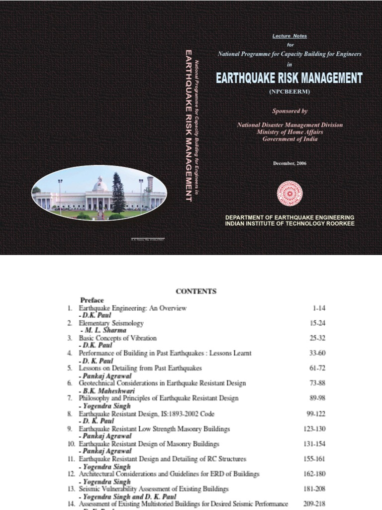 earthquake risk management lecture notes iit roorkee