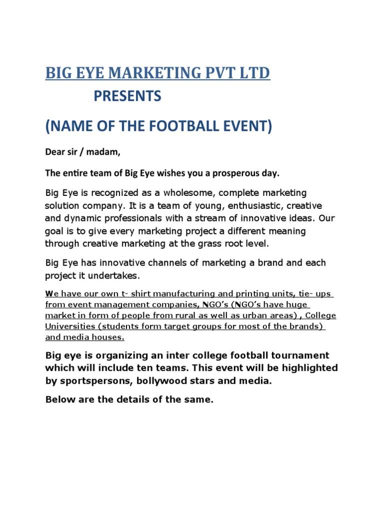Football event proposal altavistaventures Image collections