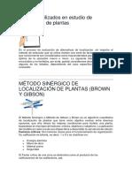 Factores Utilizados en Estudio de Localización de Plantas