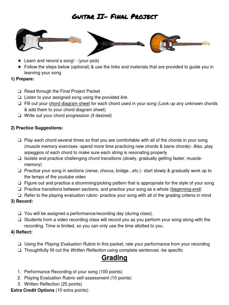 Guitar Final Project Assignment Sheet Song Structure Performing Arts