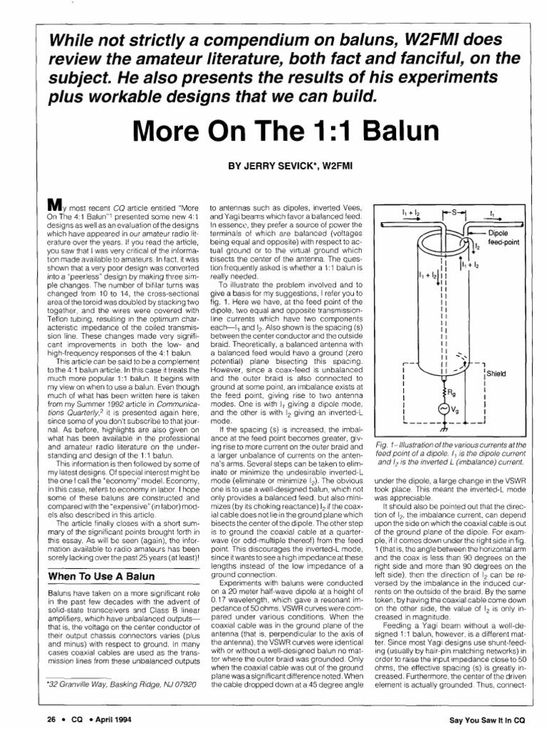 balun-sevick | Coaxial Cable | Antenna (Radio)