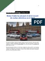 Reino Unido Ha Alcanzó El Nivel Record de Coches Eléctricos en El 2015