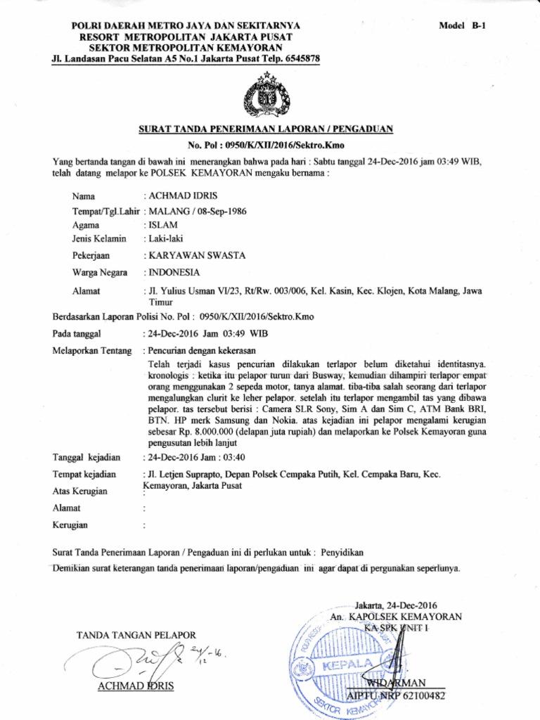 Contoh Surat Laporan Pencurian Ke Polisi Seputar Laporan