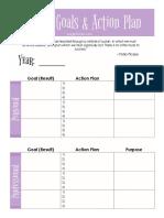 Goals Actions Plan Printable PDF