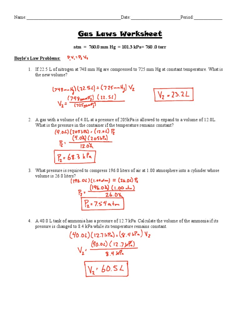 Ideal Gas Law Worksheet Answers - Kidz Activities