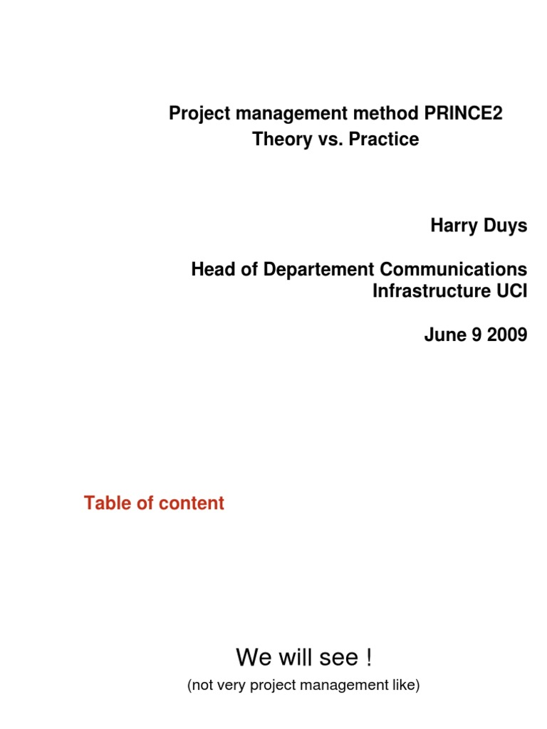 Prince 2 Project Management Computer Network