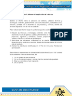 Informe de Aplicacionde Sotfware Evidencia Tres