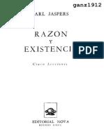 JASPERS, KARL - Razón y Existencia
