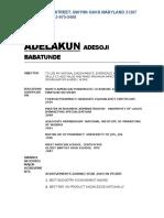 adelakun adesoji babatunde resume