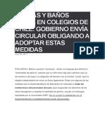 Duchas y Baños Trans en Colegios de Chile