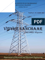 Vidyut Sanchaar, Electrical & Electronics Department Magazine October 2013 NIT Arunachal Pradesh , 1st Departmental Magazine.