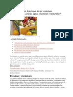 Cuáles Son Las Funciones de Las Proteínas
