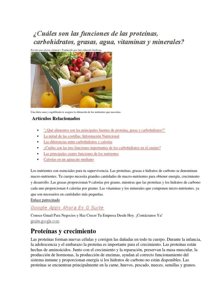 alimentos con proteinas carbohidratos vitaminas minerales y grasas