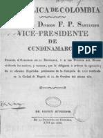 1820 Francisco de Paula Santander - Justificación ejecución prisioneros españoles