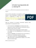 ¿Cómo formular la propuesta de valor de tu startup