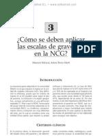 Aplicacio¦ün de escalas de gravedad en la NCG