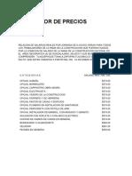 Tabulador de Precios 2015