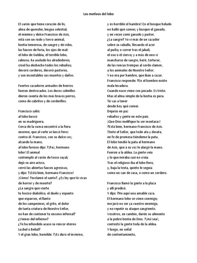 Los Motivos Del Lobo Lobo Gris Francisco De Asís