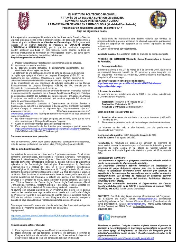 M. en Ciencias en Farmacologia
