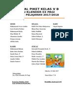 JADWAL PIKET TEGAK. kelas 5B tahun 2017-2018 doc.doc