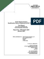 Clock Spring CS600 Quad Qualification Test Report