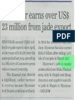 [GNLM-14.7.2017] Myanmar earns over US$23 million from jade export